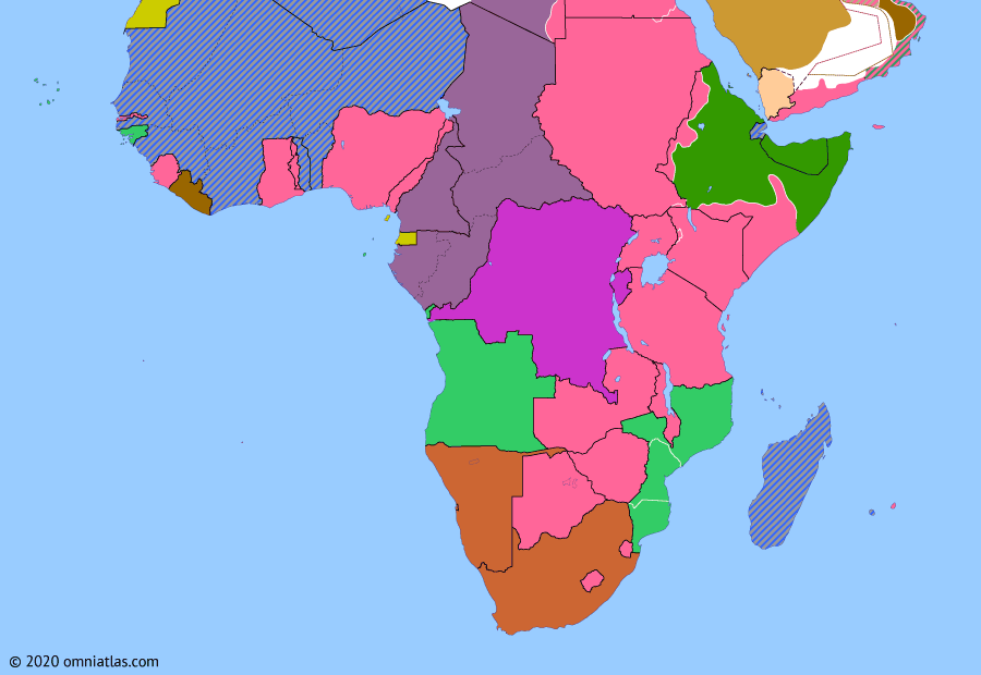 Political map of Sub-Saharan Africa on 01 Mar 1941 (World War II in Africa: East African Campaign), showing the following events: Operation Compass; British conquest of Eritrea; British invasion of Ethiopia; Operation Canvas; Capture of Kufra.