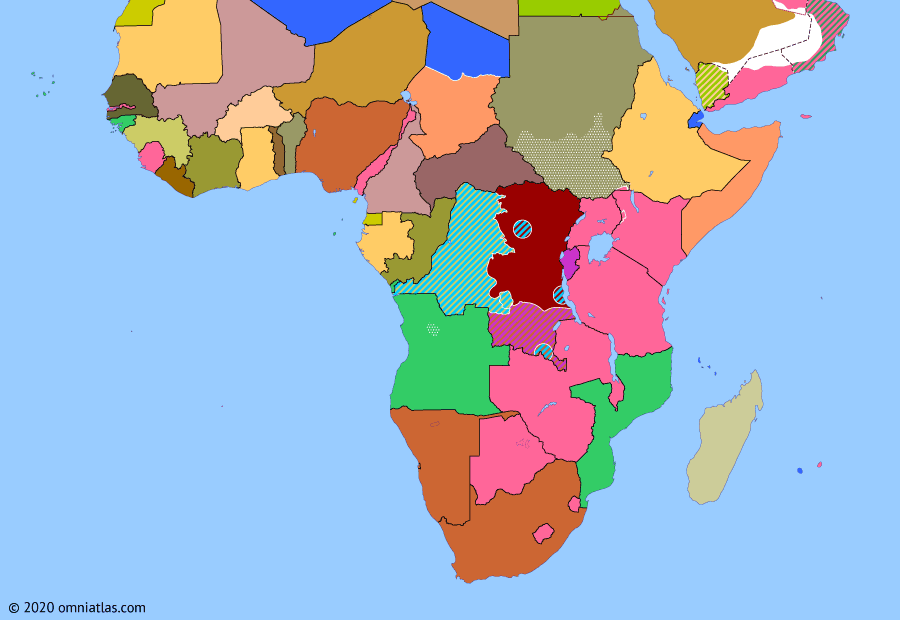 Political map of Sub-Saharan Africa on 24 Feb 1961 (Africa and the Cold War: Discord over the Congo), showing the following events: Gizenga's expansion; Casablanca Group; Assassination of Lumumba; UN discord over the Congo; Outbreak of Angolan War.