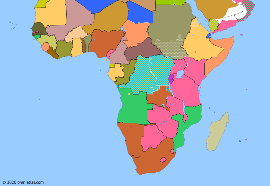 Political map of Sub-Saharan Africa on 18 Sep 1961 (Africa and the Cold War: UN Action Against Katanga), showing the following events: Independence of Sierra Leone; Monrovia Group; Republic of South Africa Act; Partition of British Cameroons; Annexation of Ajuda; Gizenga-Adoula agreement; Operation Rum Punch; Eritrean Independence War begins; Operation Morthor; Ndola UN DC-6 crash.