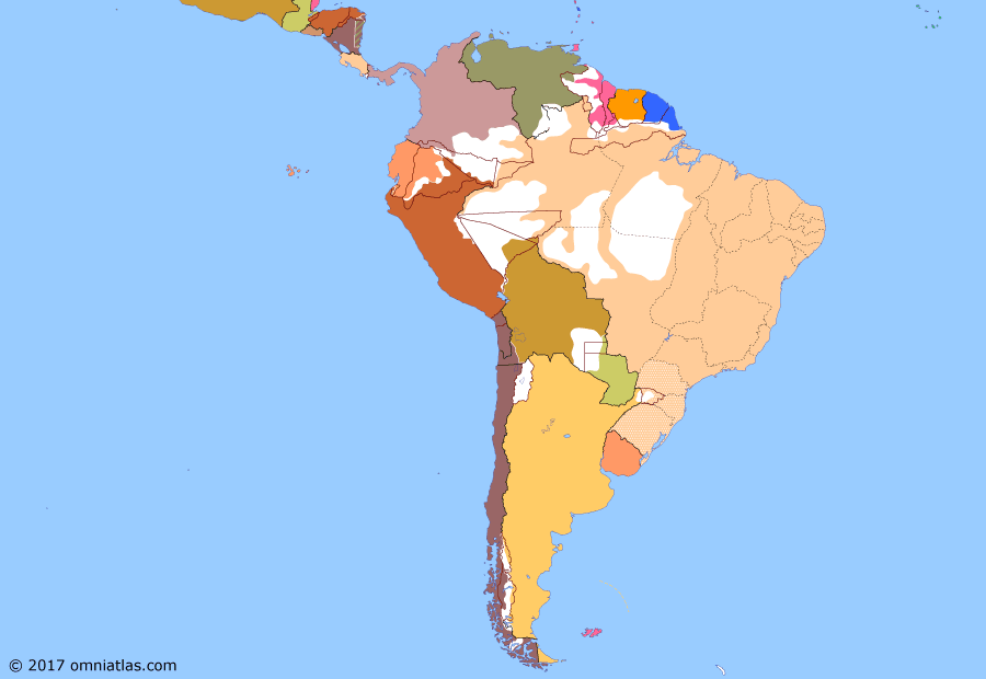 Political map of South American nations on 09 Feb 1894 (Rise of the Southern Cone: Brazilian Naval Rebellion), showing the following events: Rio Grandese Revolt; Principality of Trinidad; Brazilian Naval Rebellion; Rio de Janeiro Affair.