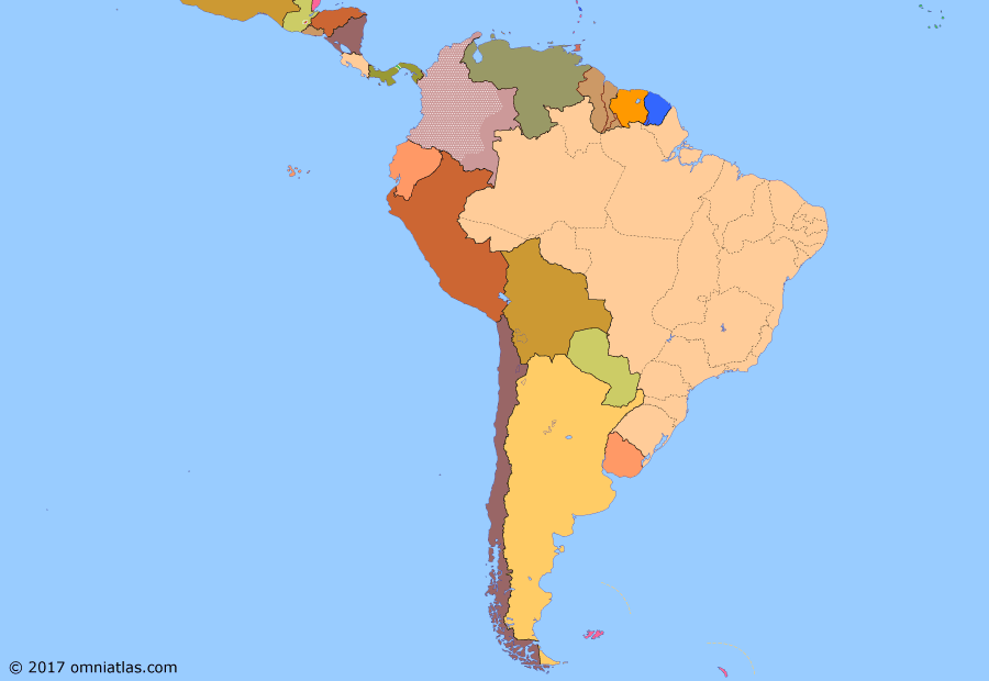 Political map of South American nations on 30 Jul 1970 (Pax Americana: Exporting the Revolution), showing the following events: Panama Riots; Outbreak of Colombian conflict; Inter-American Peace Force; Tupamaros; Guyana independent; Ñancahuazú Guerrilla; Barbados independent; Football War; Montoneros; Ejército Revolucionario del Pueblo.