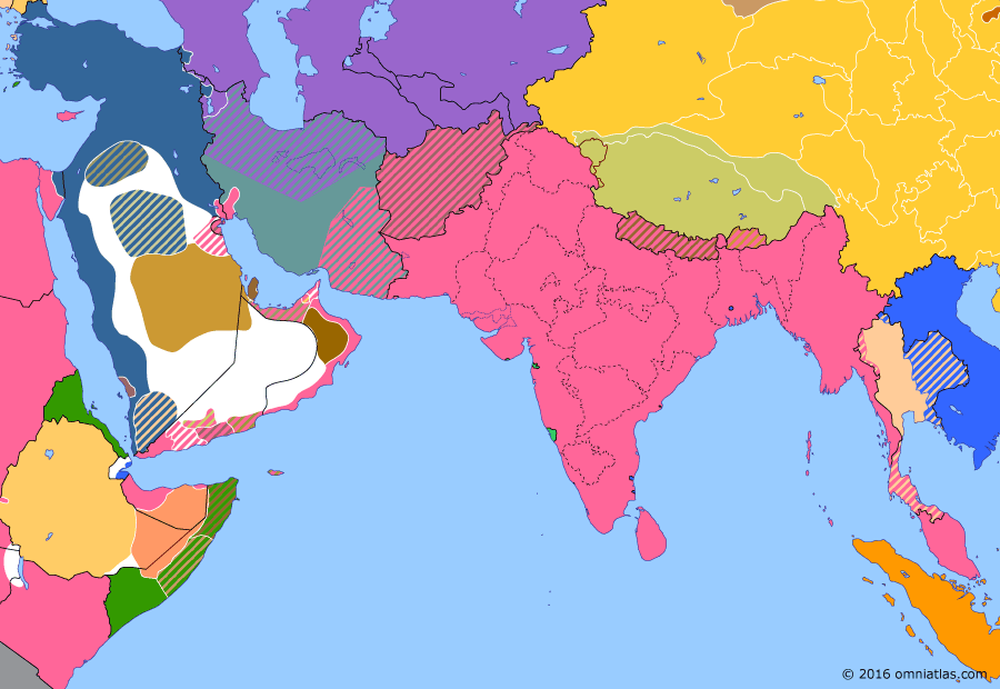 Political map of South & Southwest Asia on 29 Dec 1914 (The Great War in the Middle East: Battle of Sarikamish), showing the following events: Battle of Basra; Ottoman Jihad; Battle of Sarikamish.