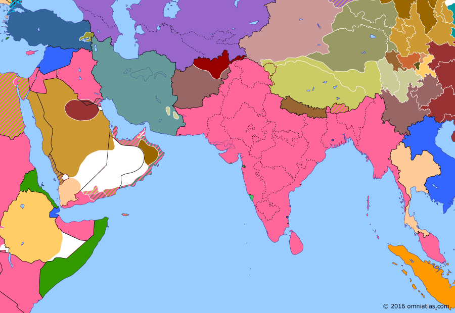 Political map of South & Southwest Asia 29 March 1929 (Ikhwan Revolt): The Saudi conquests in Arabia (Unification of Saudi Arabia) had been achieved with the support of the Ikhwan tribal armies, who wanted to go on to attack the British protectorates of Iraq, Kuwait, and Transjordan. Not wishing to antagonize the British, Ibn Saud attempted to reign in the Ikhwan but soon faced open revolt (Ikhwan Revolt). Eventually the Ikhwan were defeated by Saud's more modern army, helping to bring about a centralized Saudi state.