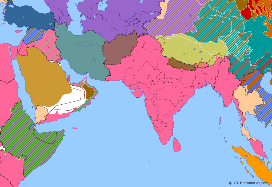 Political map of South & Southwest Asia on 17 Jan 1941 (World War II: The Middle Eastern Theater: Japanese Intervention in French Indochina), showing the following events: Japanese invasion of French Indochina; Tripartite Pact; British reopening of Burma Road; Franco-Thai War.